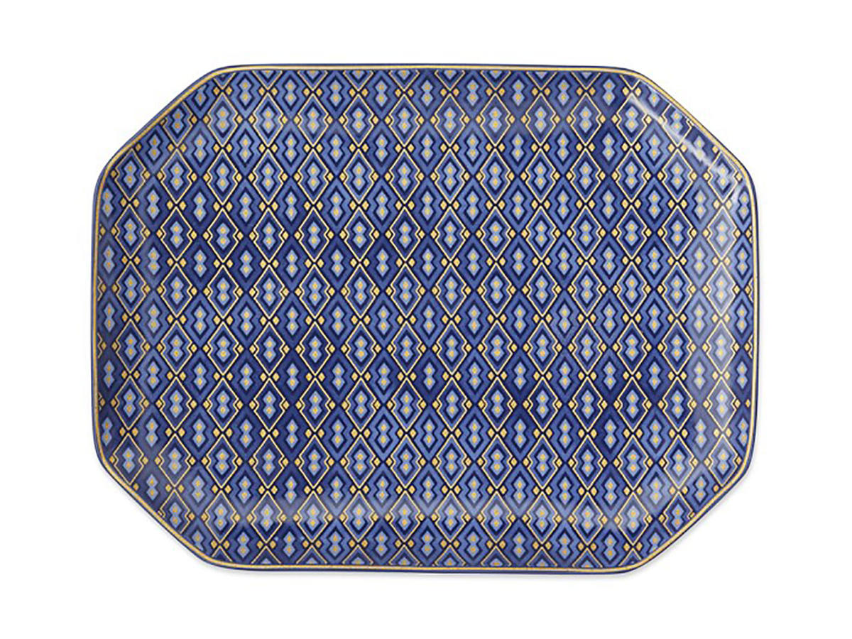 Blue Mosaic Rectangular Plate