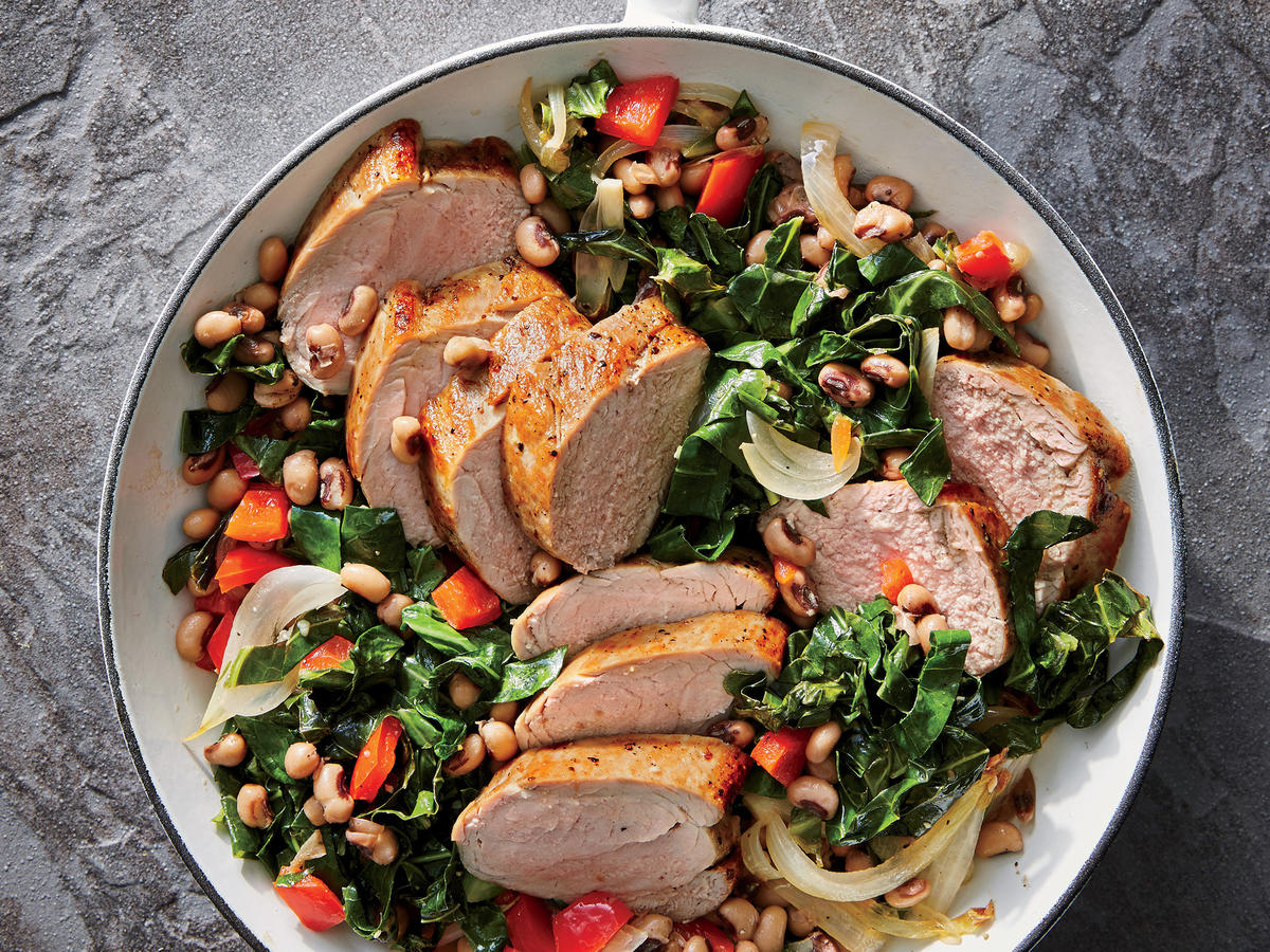Pork Tenderloin and Collards Skillet