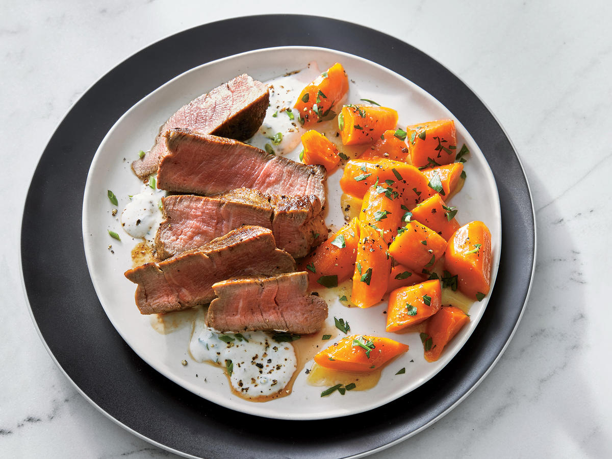 1. Beef Tenderloin with Horseradish Cream and Glazed Carrots