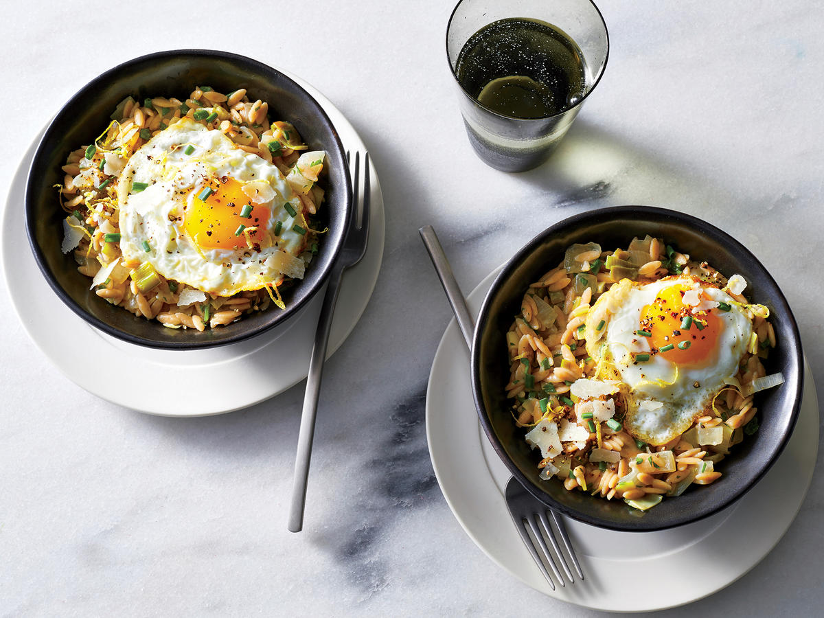 Herb and Leek  Orzotto  with Fried Eggs