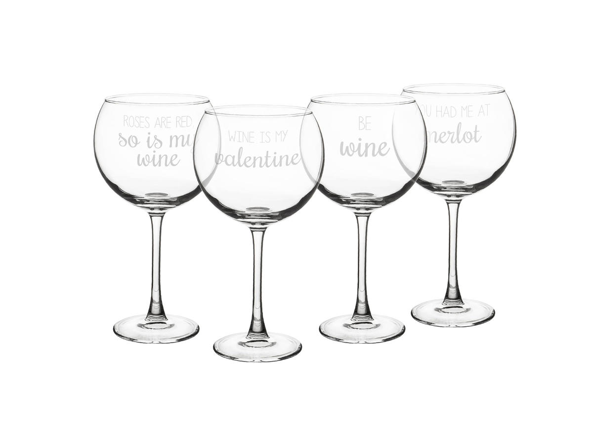 valentine's red wine glass