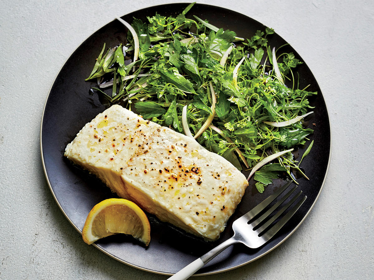 Slow-roasted Halibut with Herb Salad