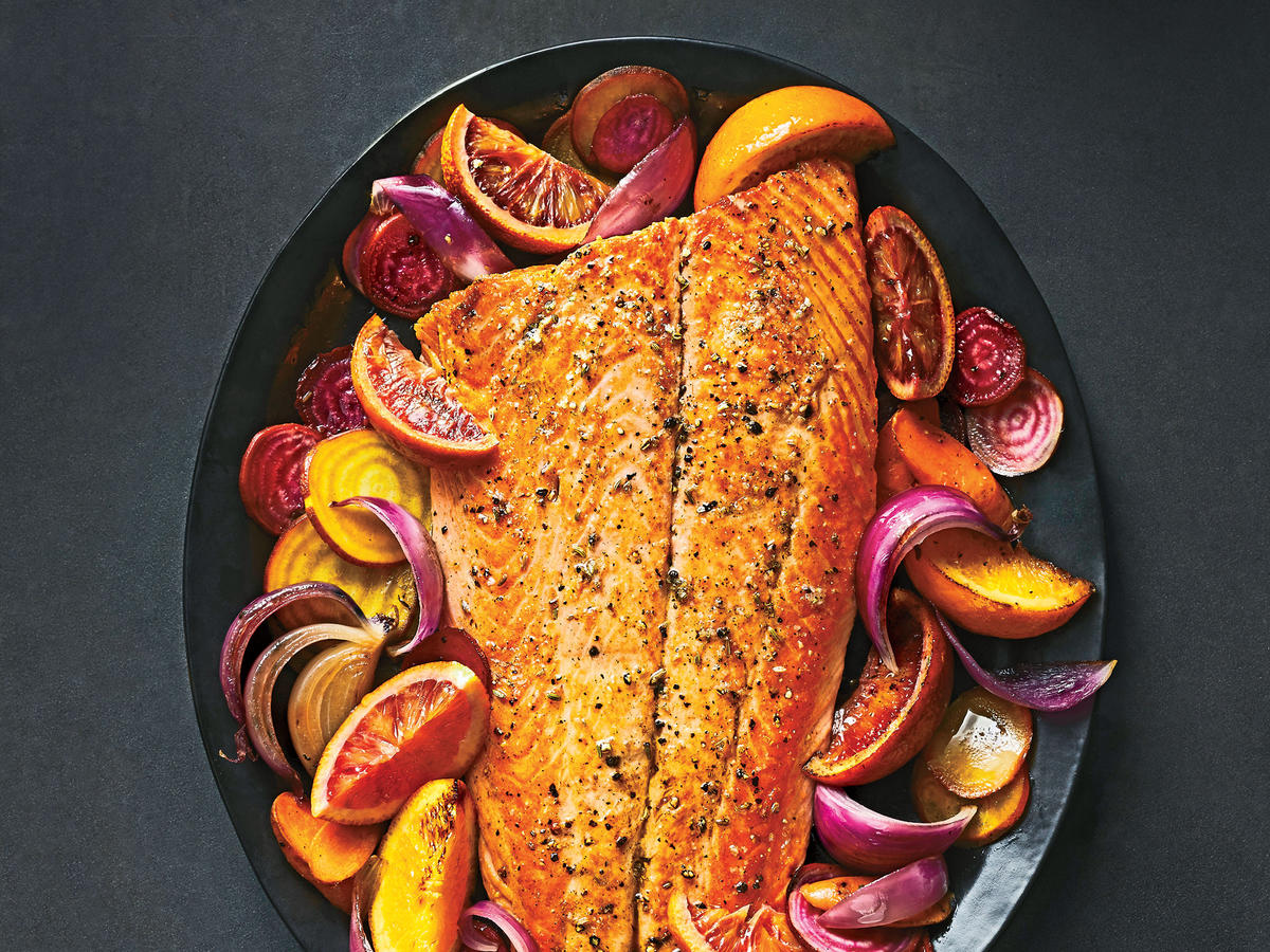 1803w Healthy Passover Recipes Roasted Salmon with Oranges, Beets, and Carrots
