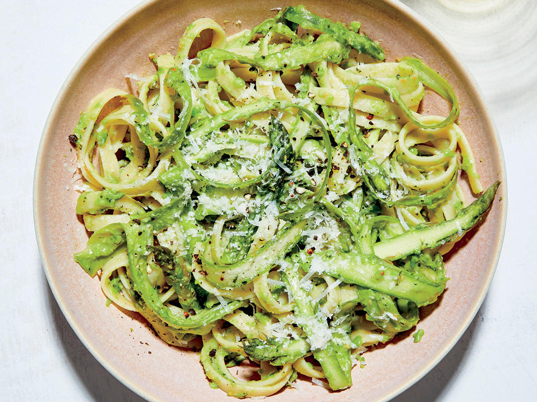 Pasta with Shaved Asparagus and Pea Pesto