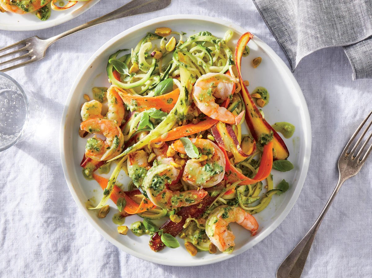 Veggie Noodles with Shrimp and Pistachio Pesto