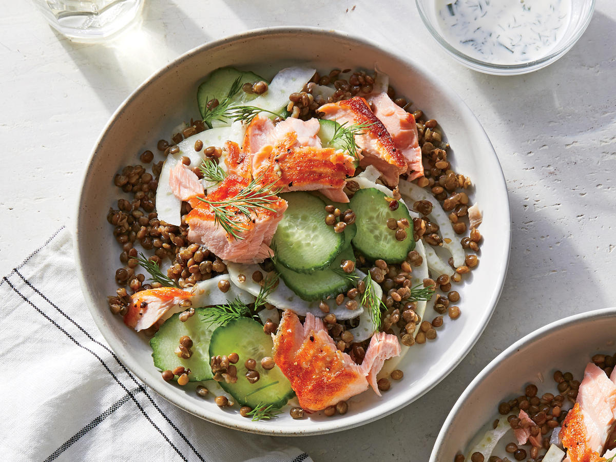 This Salmon and Lentil Bowl With Kefir Dressing Makes a Hearty Lunch or Dinner
