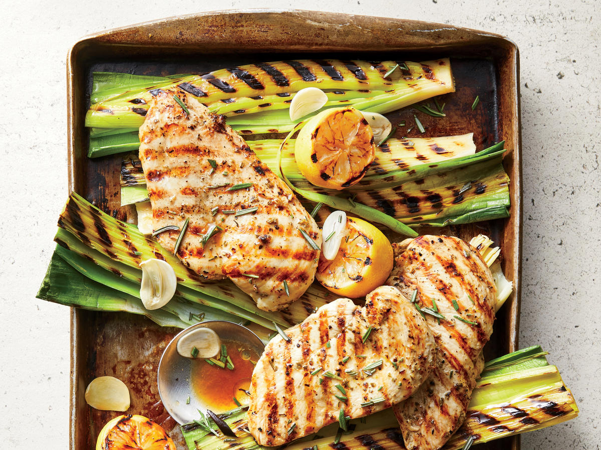 Grilled Lemon-Rosemary Chicken and Leeks