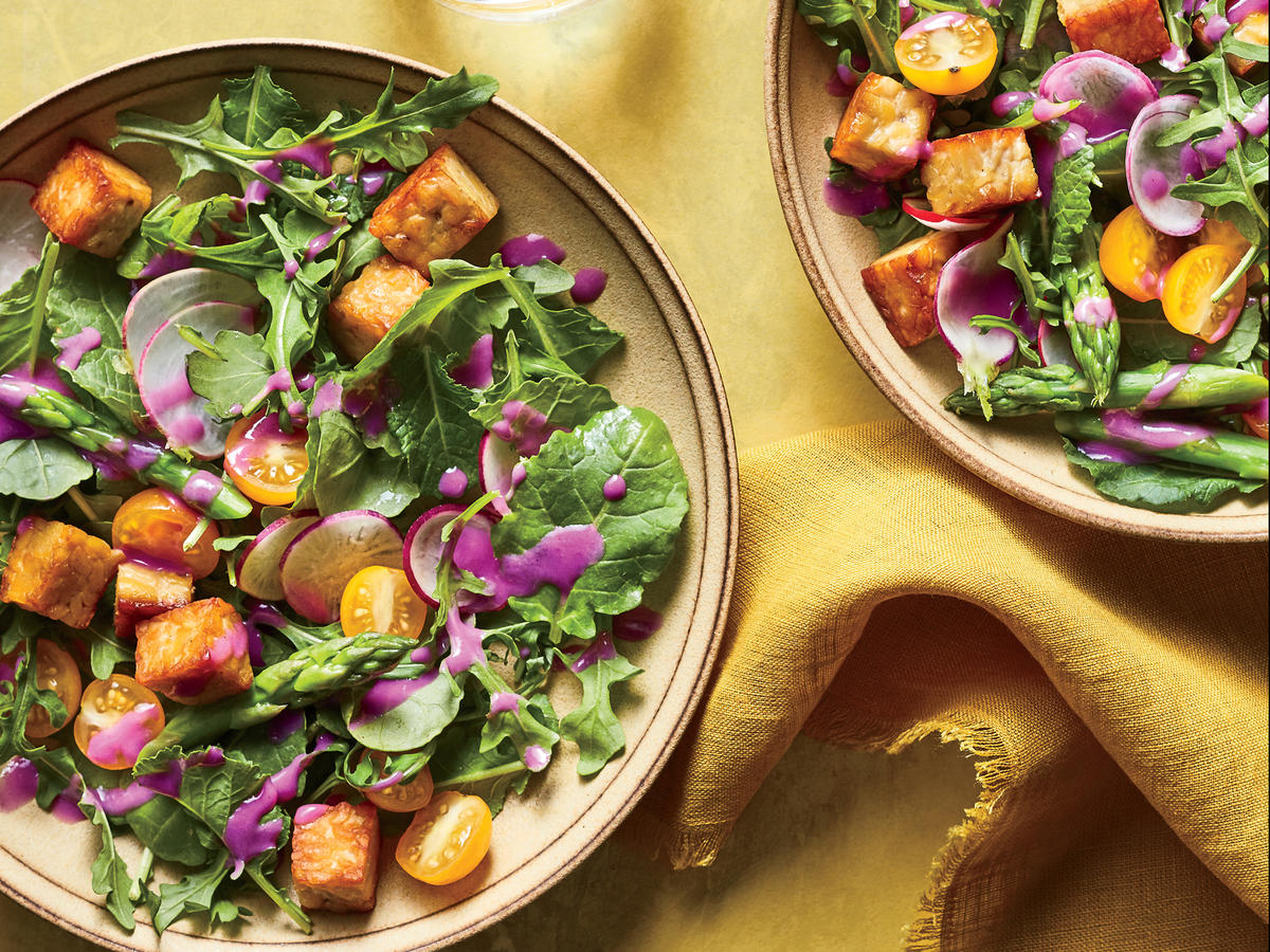 Early Summer Salad with Tempeh Croutons and Beet Dressing