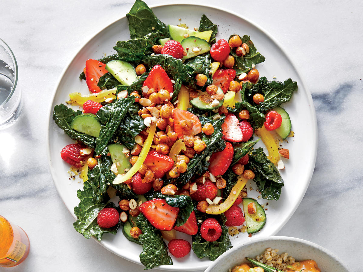 Kale Salad with Spiced Chickpeas and Berries