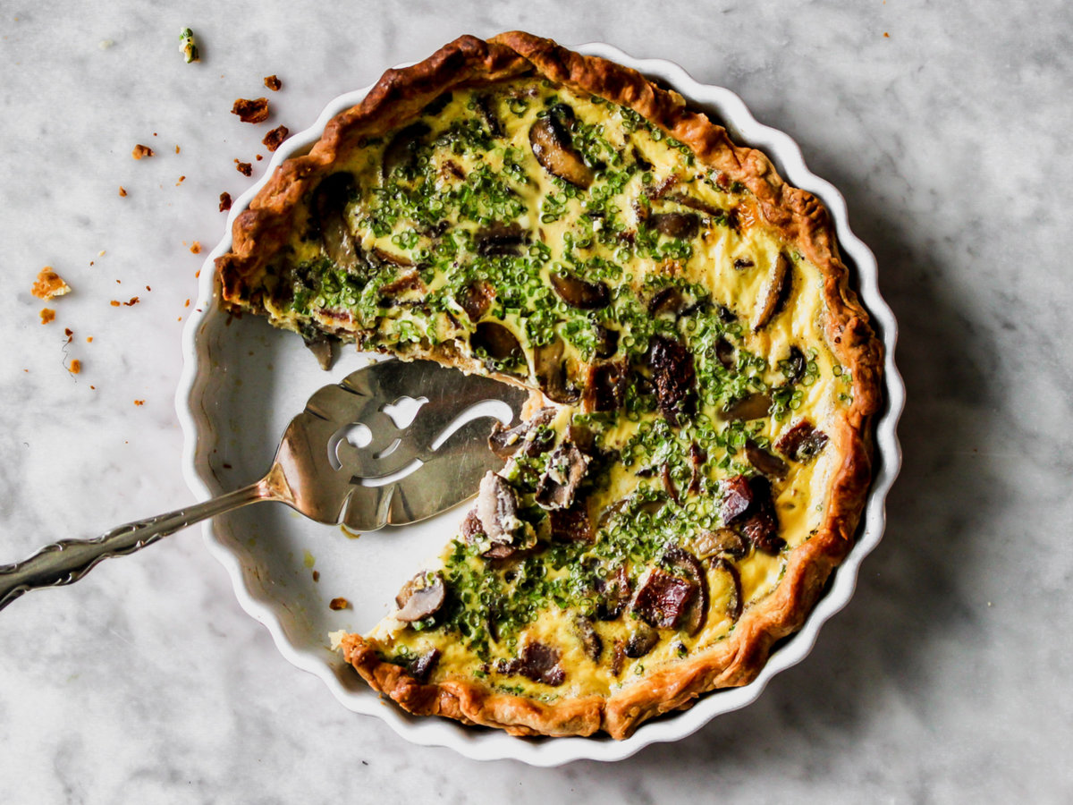 Bacon, Mushroom, and Chive Quiche