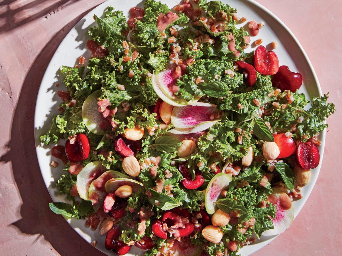 Kale and Wheat Berry Salad with Fresh Cherry Dressing