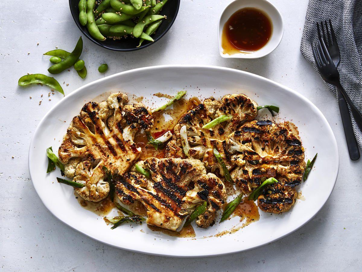Grilled Cauliflower Steaks With Miso Dressing