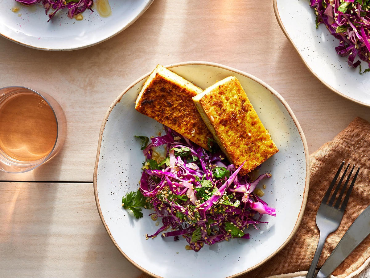 Curry-Ginger-Mint Tofu Steaks With Cabbage Slaw