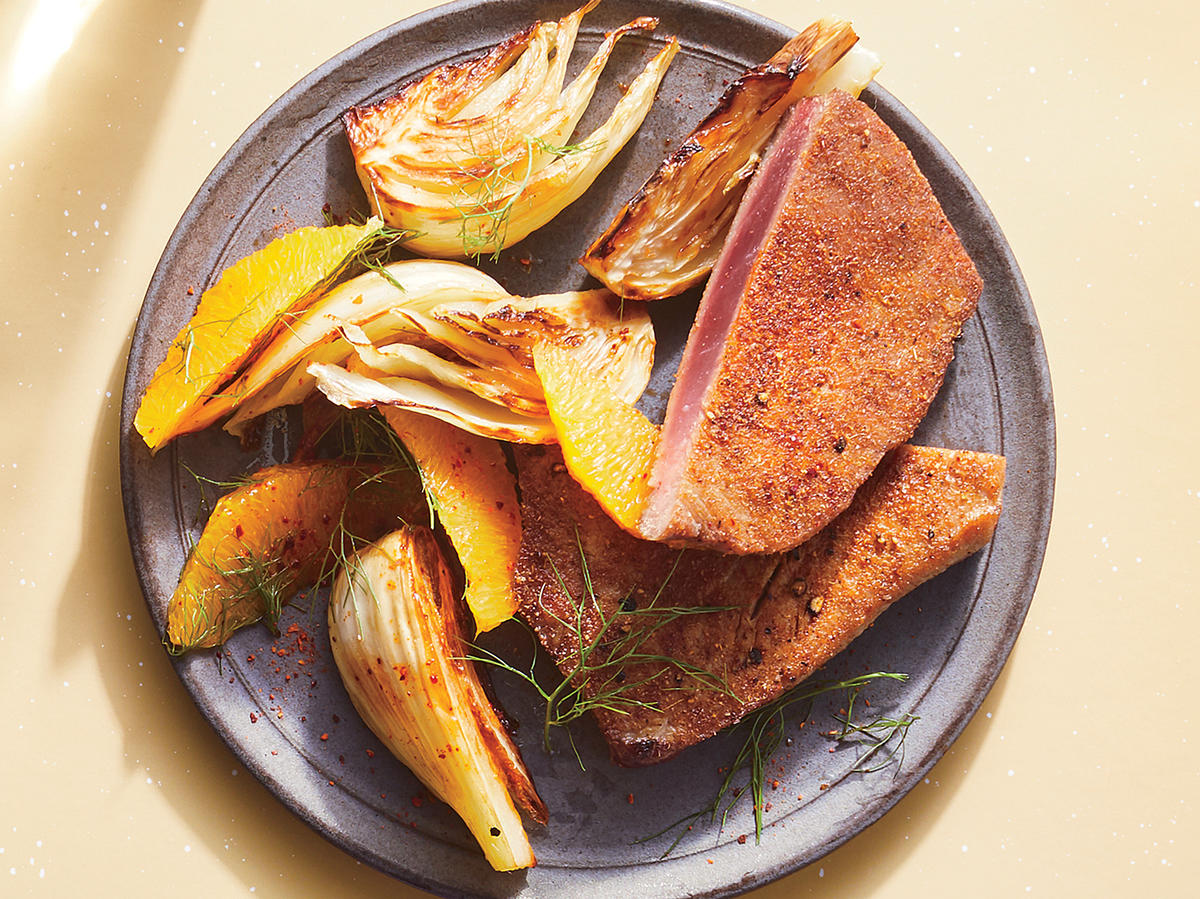 Spice-Rubbed Tuna Steaks With Caramelized Fennel