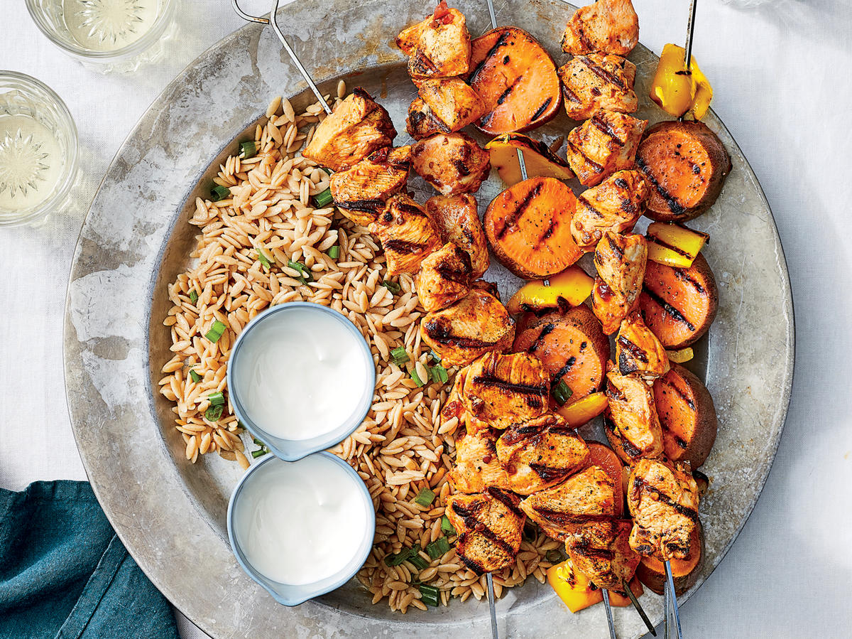 Chicken and Vegetable Kebabs With Orzo