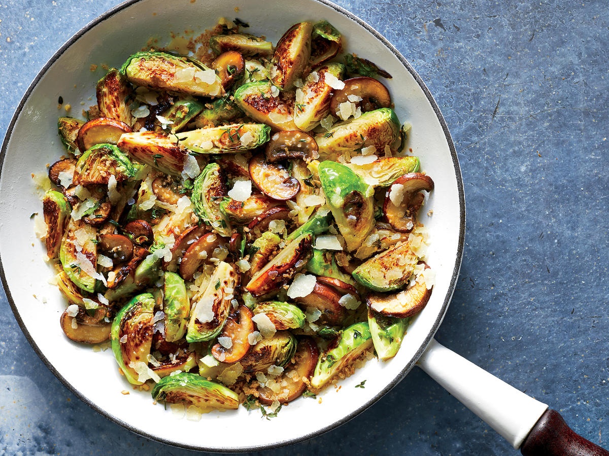 Cheesy Brussels Sprouts and Mushrooms