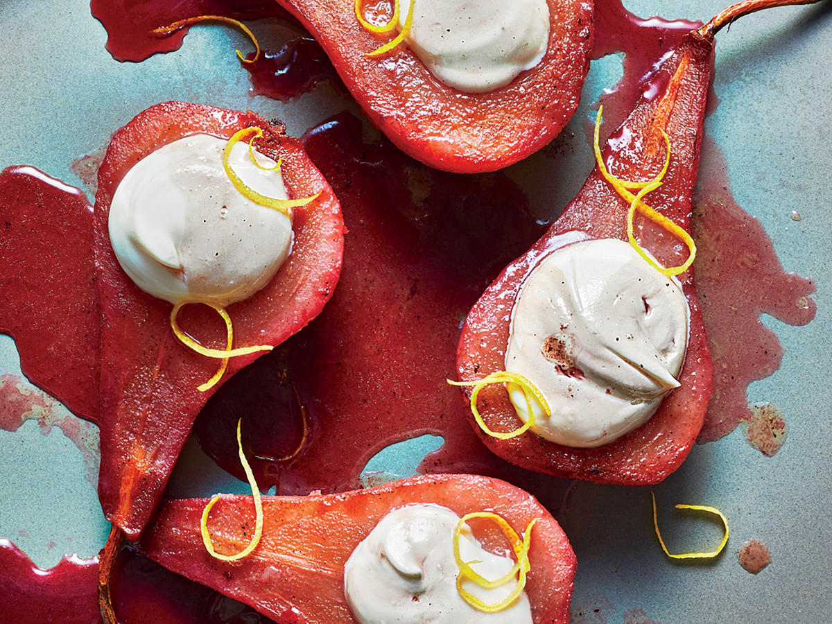 Pomegranate-Poached Pears