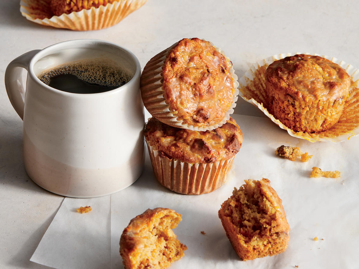 Carrot-Apple Muffins with Orange Glaze