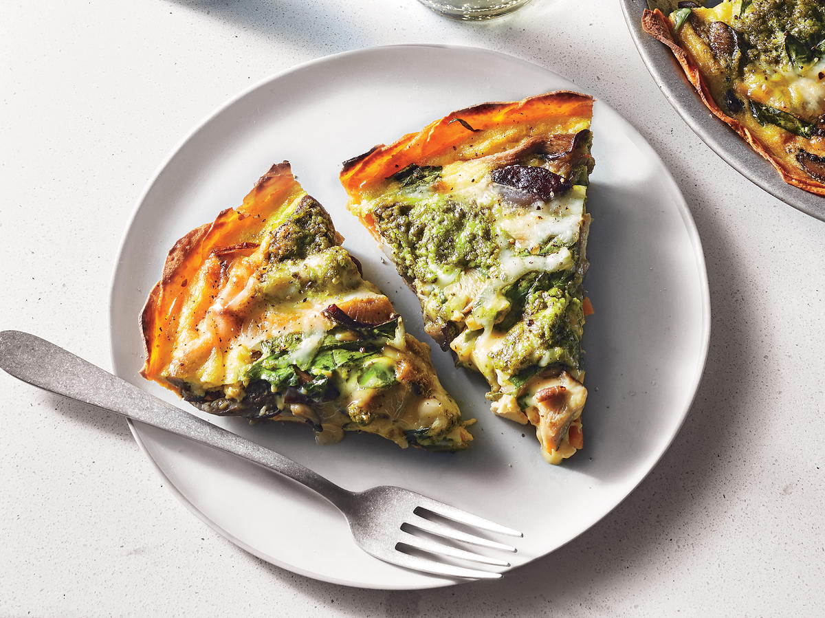 Mushroom Quiche with Sweet Potato Crust