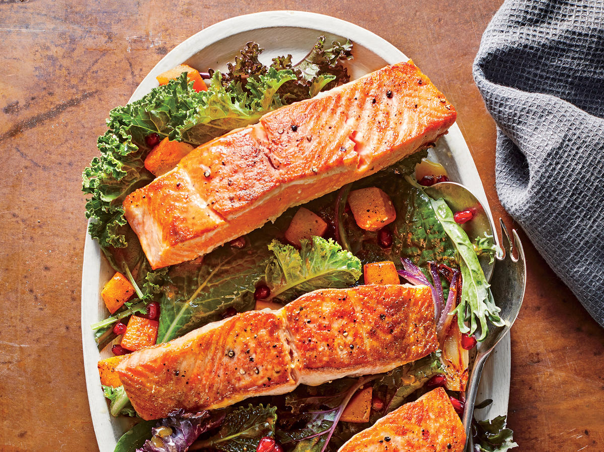 Crispy Salmon Salad with Roasted Butternut Squash