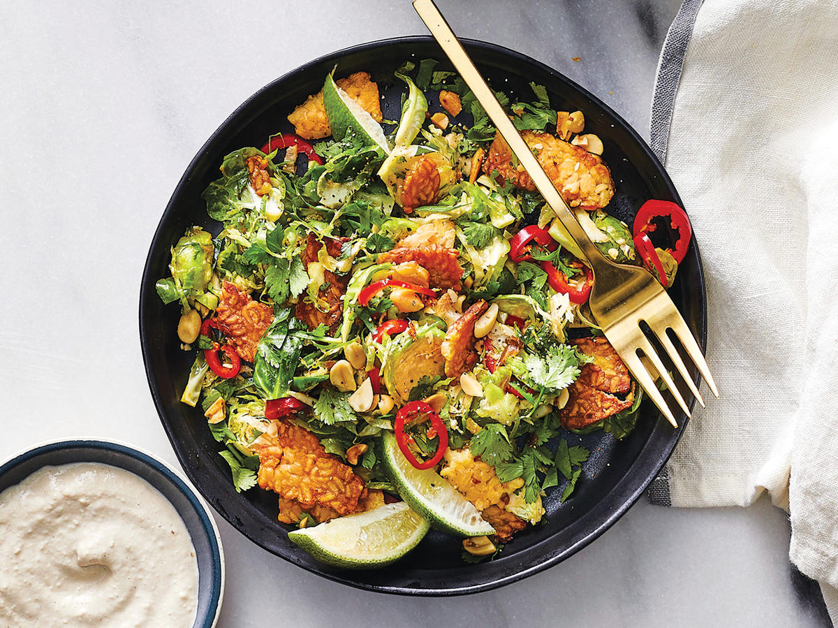 Brussels Sprouts Salad With Crispy Tempeh