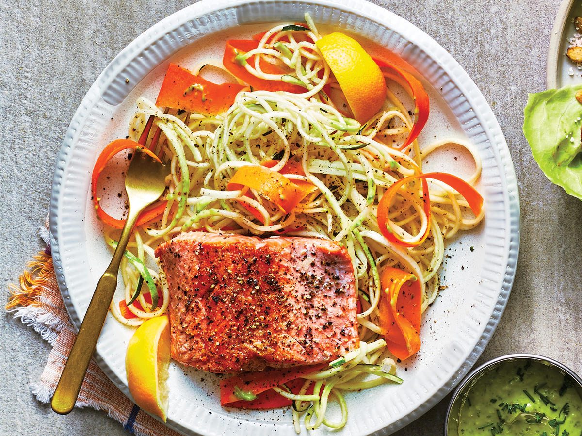 Seared Salmon With Zucchini Noodles