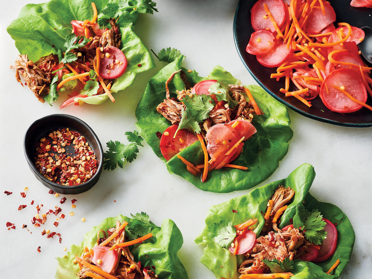 Slow-Cooker Soy Glazed Pork In Lettuce Cups