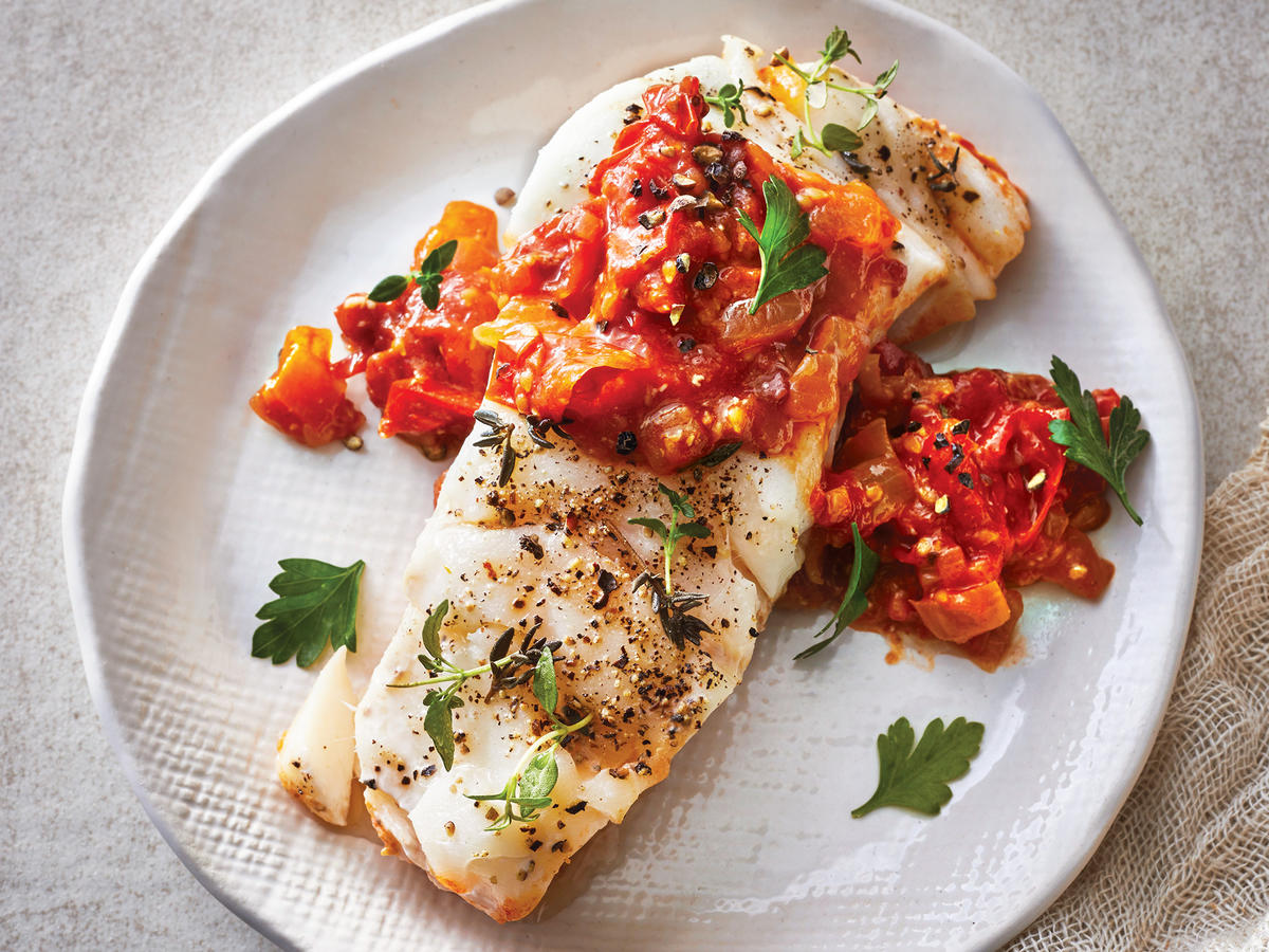Tuesday: Slow-Cooker Cod With Tomato-Balsamic Jam