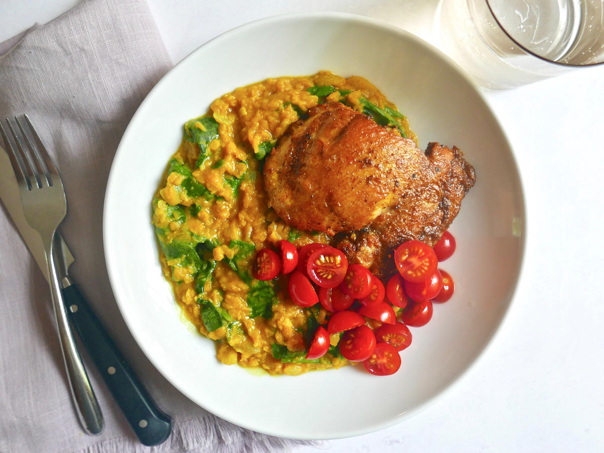 Spice-Rubbed Chicken With Red Lentil Dal