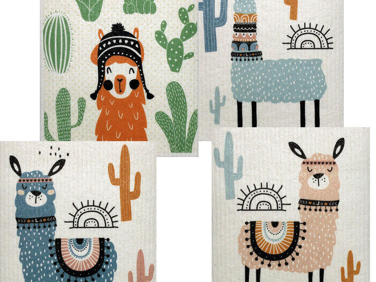 Mixed Llama Set of 4 Swedish Dishcloths