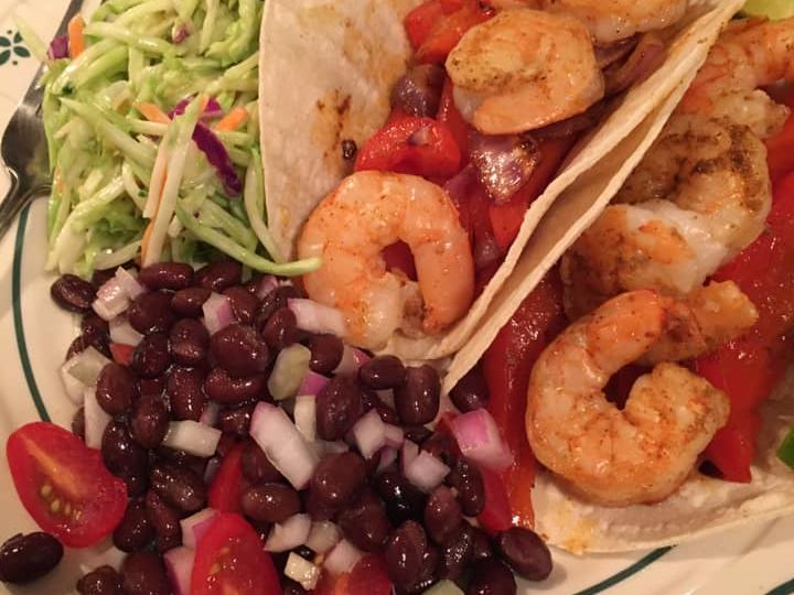 Sheet Pan Shrimp Fajitas, Tequila Slaw with Lime and Cilantro, Black Bean Salad..jpg
