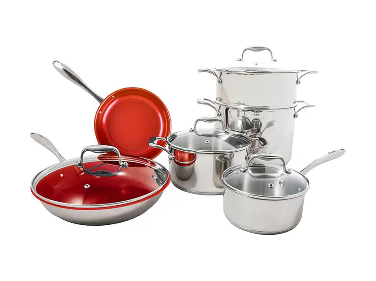 Tuxton Home Concentrix 10 Piece Stainless Steel Non Stick Cookware Set
