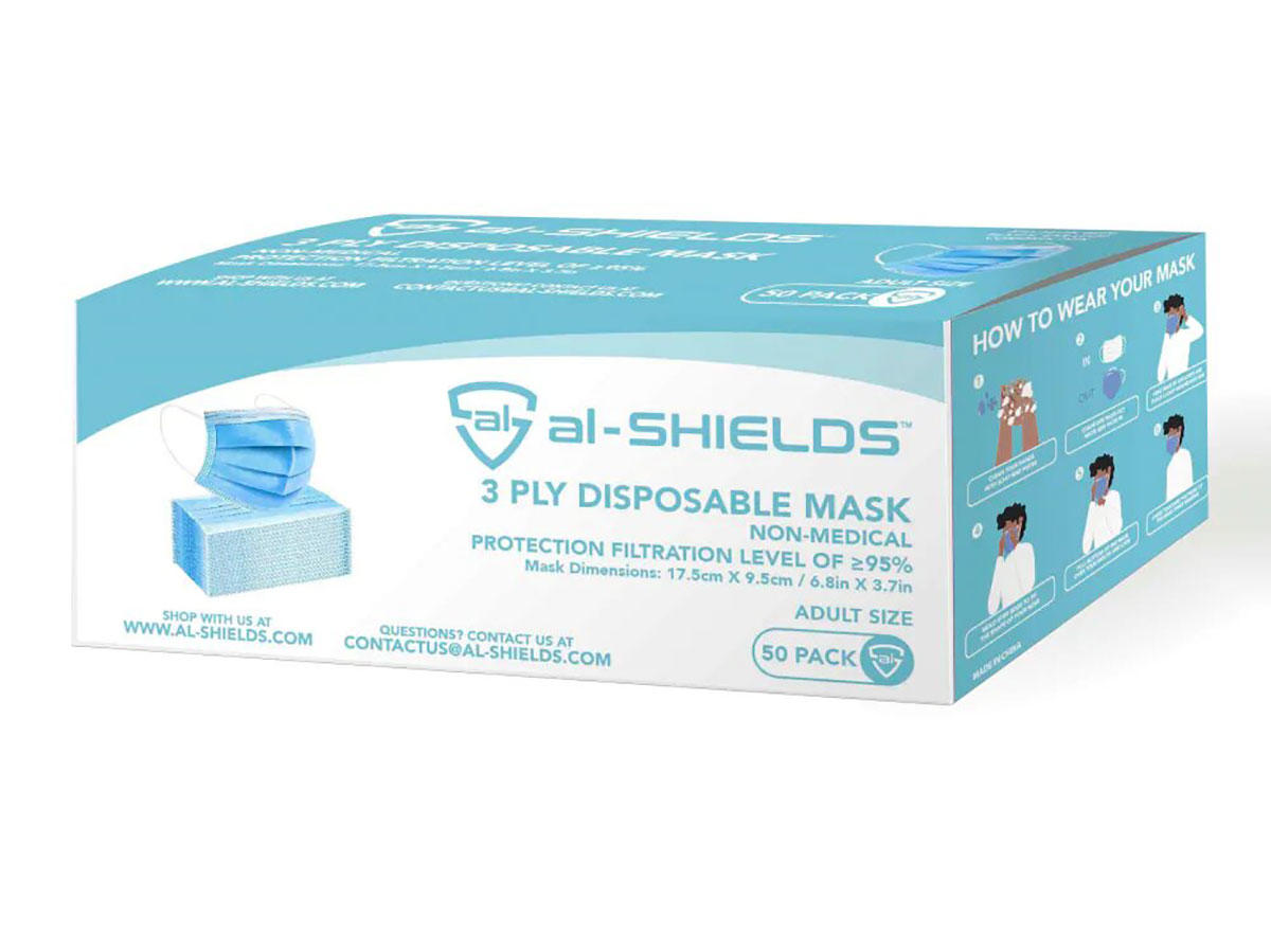 al-SHIELDS 3 Ply Disposable Face Mask with Ear Loops