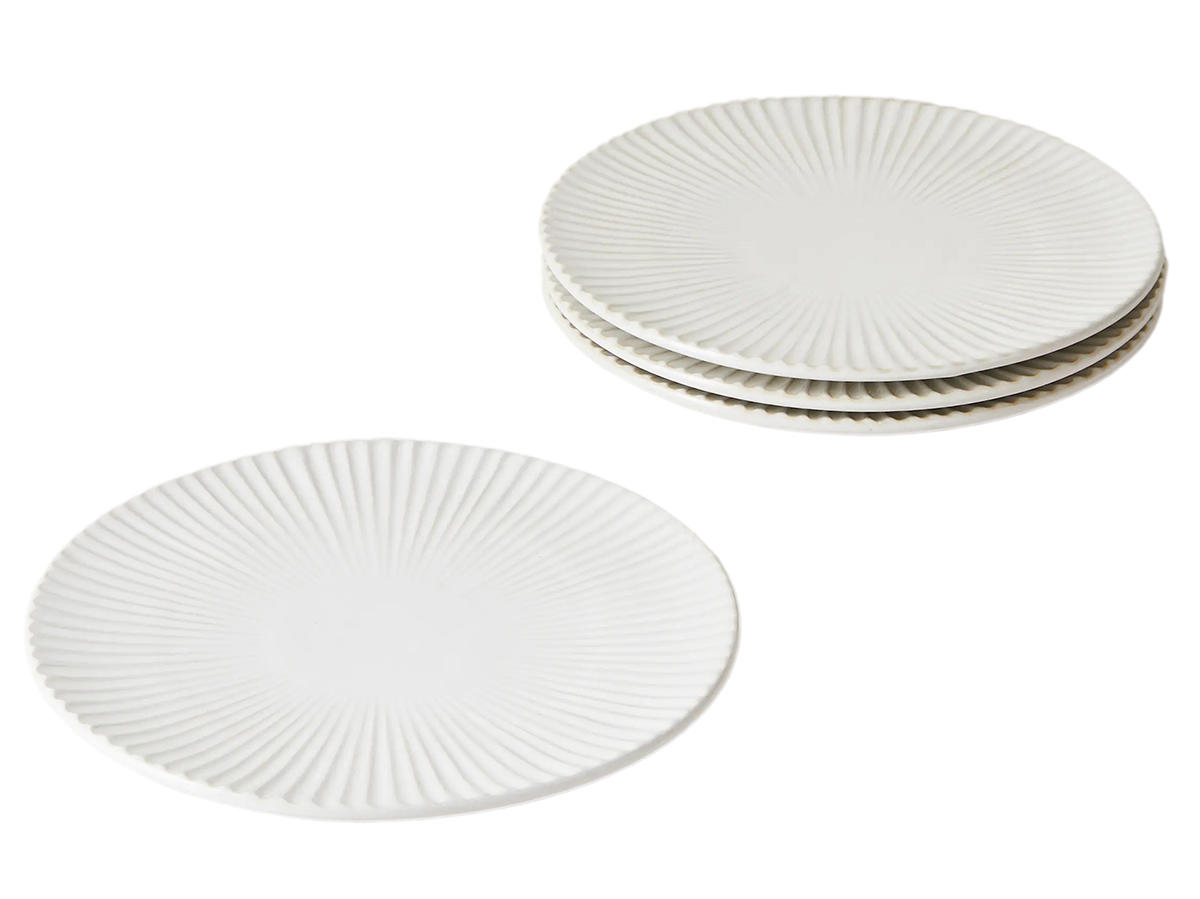 Five Two by Food52 Set of 4 Ribbed Plates