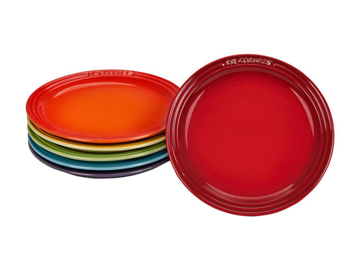 le creuset rainbow collection tea plates