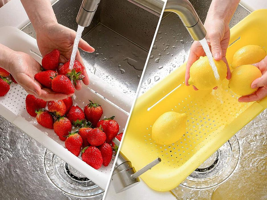This Expandable Colander Keeps Pasta, Fruits, and Veggies Out of the Drain in Any Sink