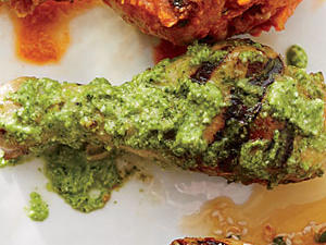 Chicken Drumsticks with Cilantro Pesto