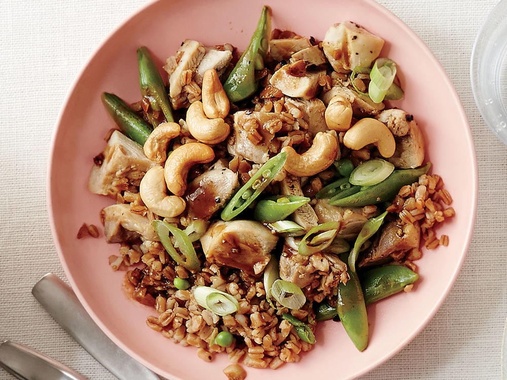 Cashew Chicken Wheat Berry Salad with Peas