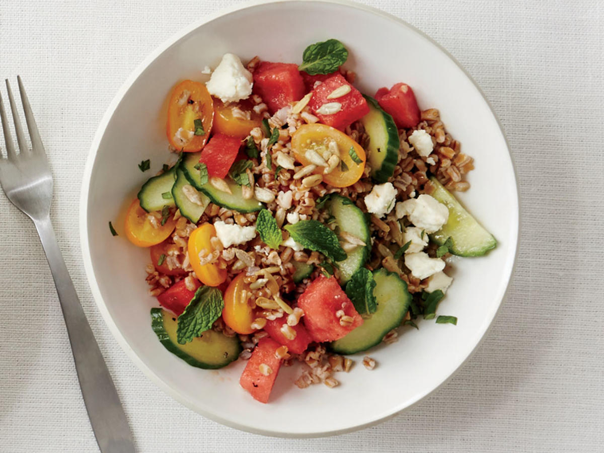 Wheat Berry Salad with Melon and Feta