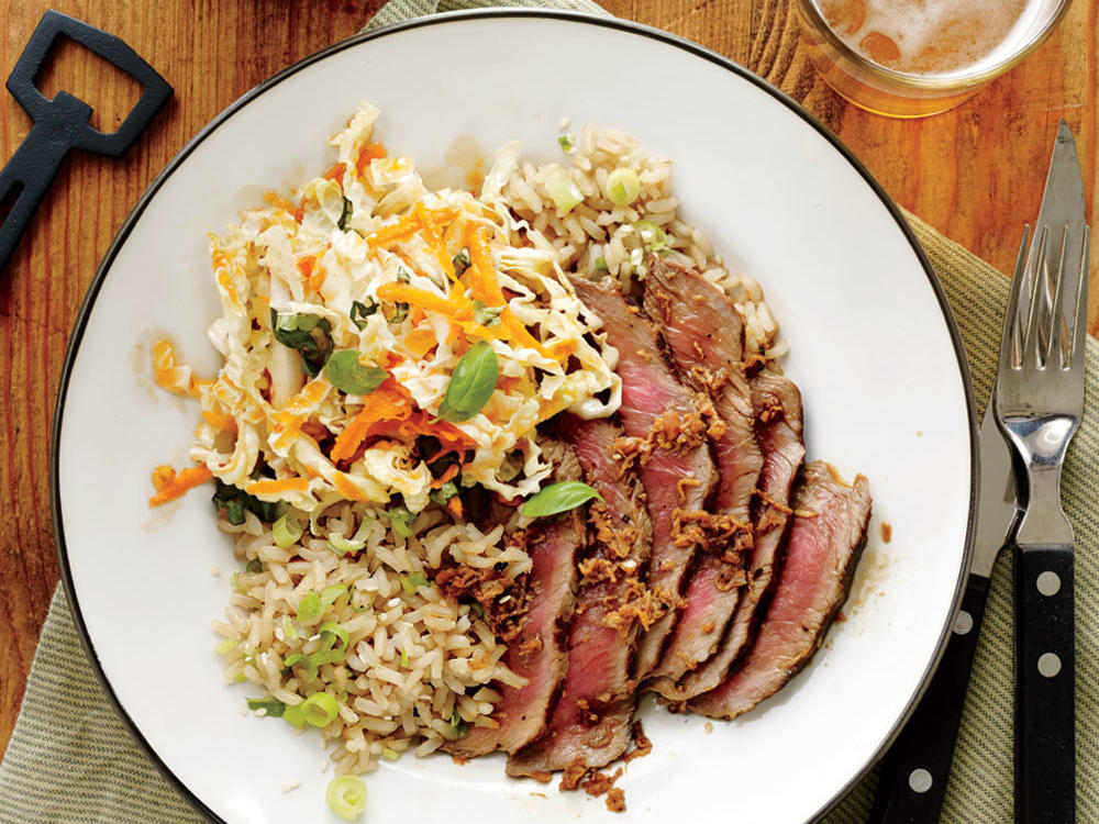 Ginger Steak with Sesame Brown Rice