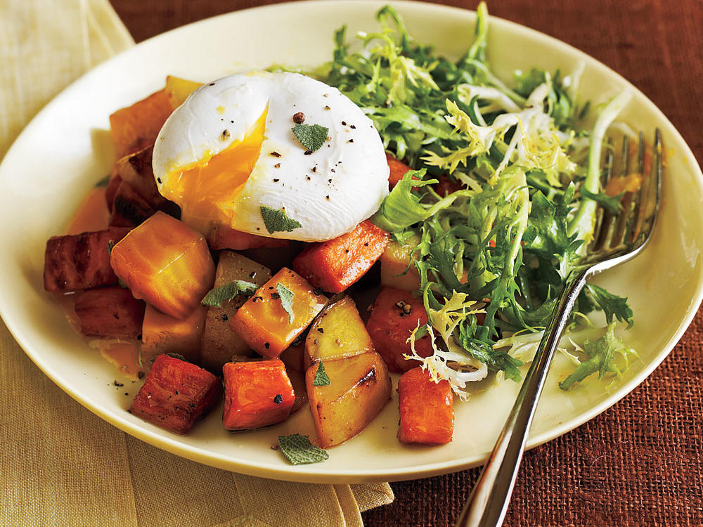 1510 Two Potato and Beet Hash with Poached Eggs and Greens