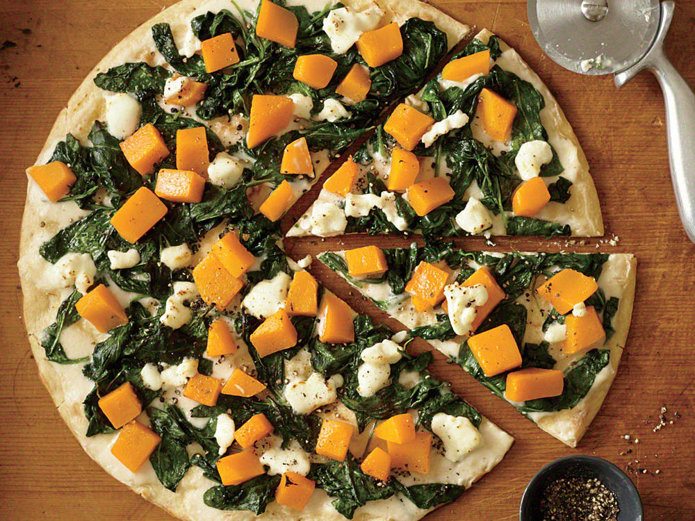 Butternut Squash Pizza with White Sauce, Spinach, and Goat Cheese