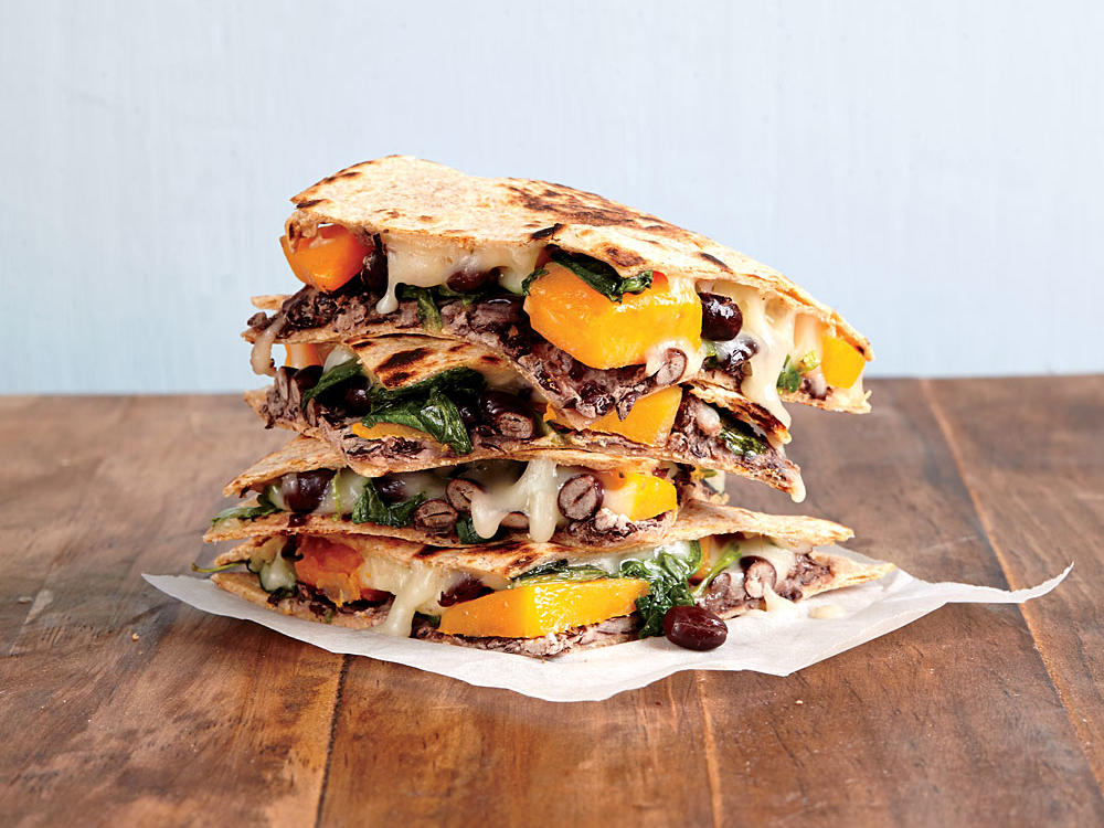 Butternut Squash, Kale, and Black Bean Quesadillas