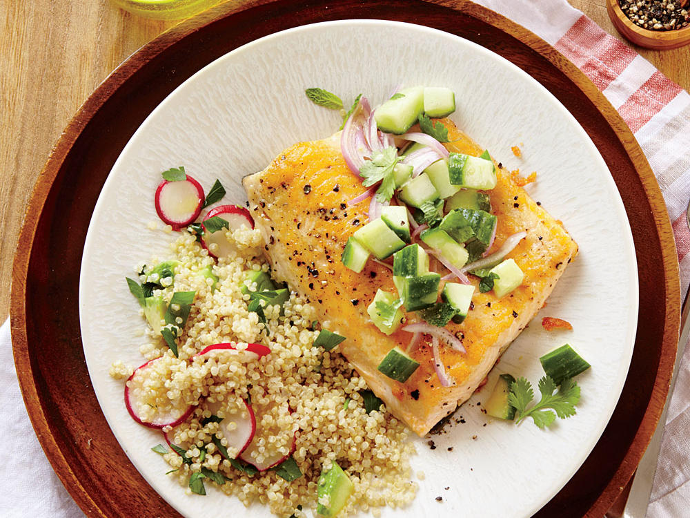 25. Seared Arctic Char with Cucumber Relish