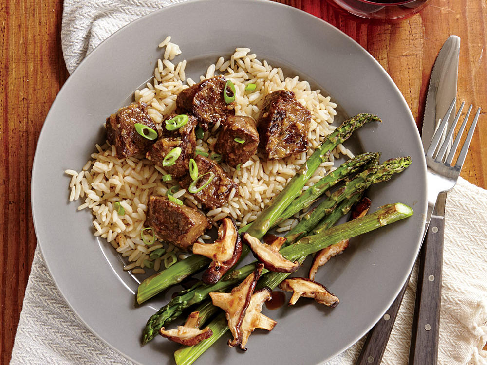 Seared Sirloin Steak Bites with Miso Butter and Rice