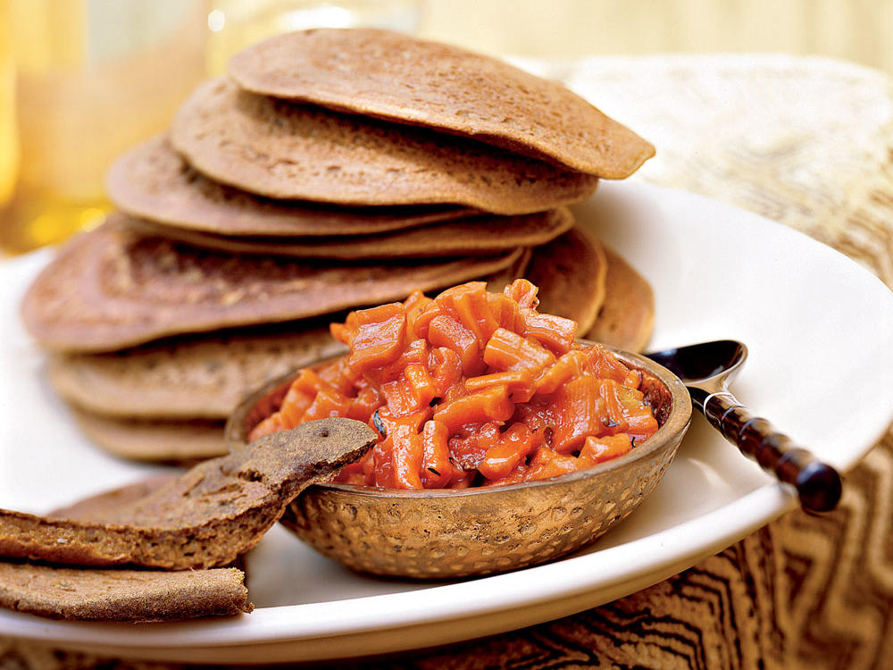 teff injera flatbread with carrot-ginger chutney