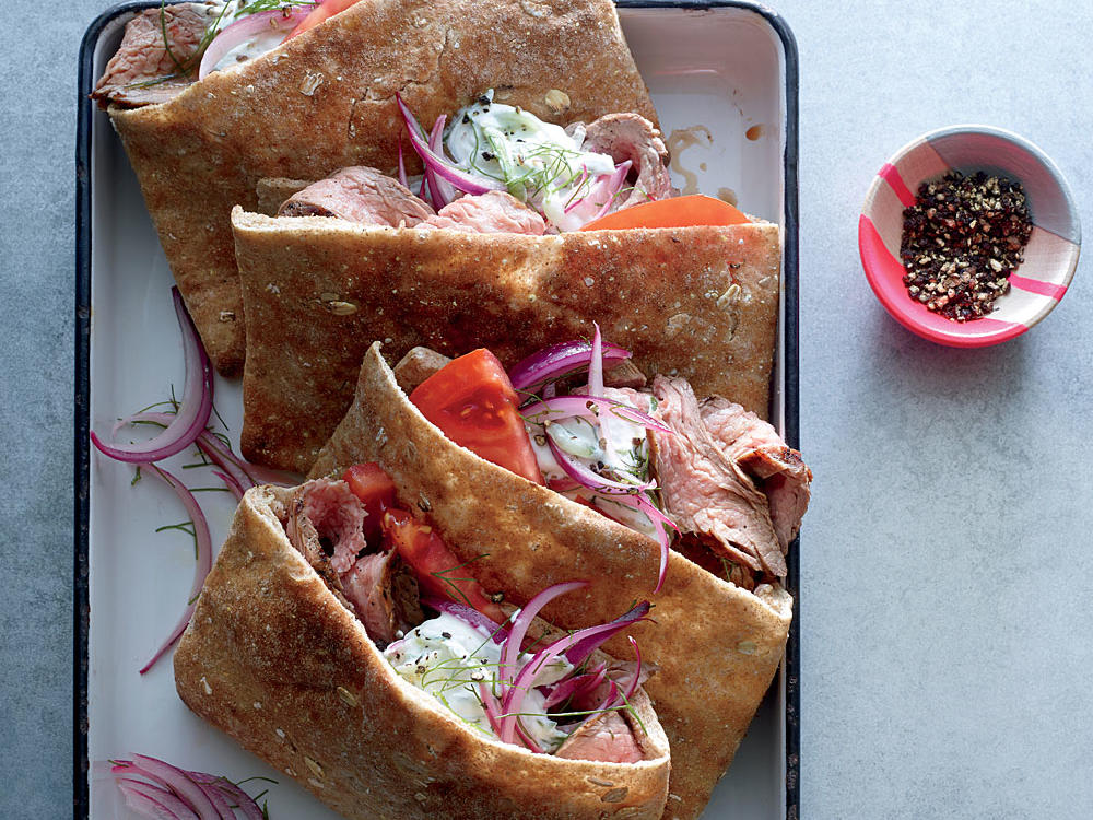 Grilled Flank Steak Gyros