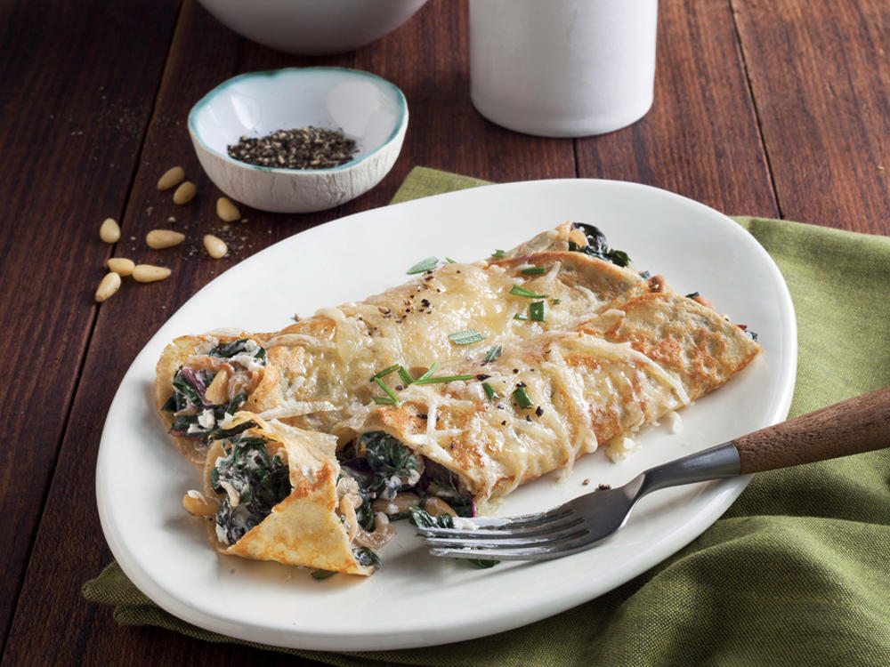 Chard, Caramelized Onion, and Gruyère Crepes