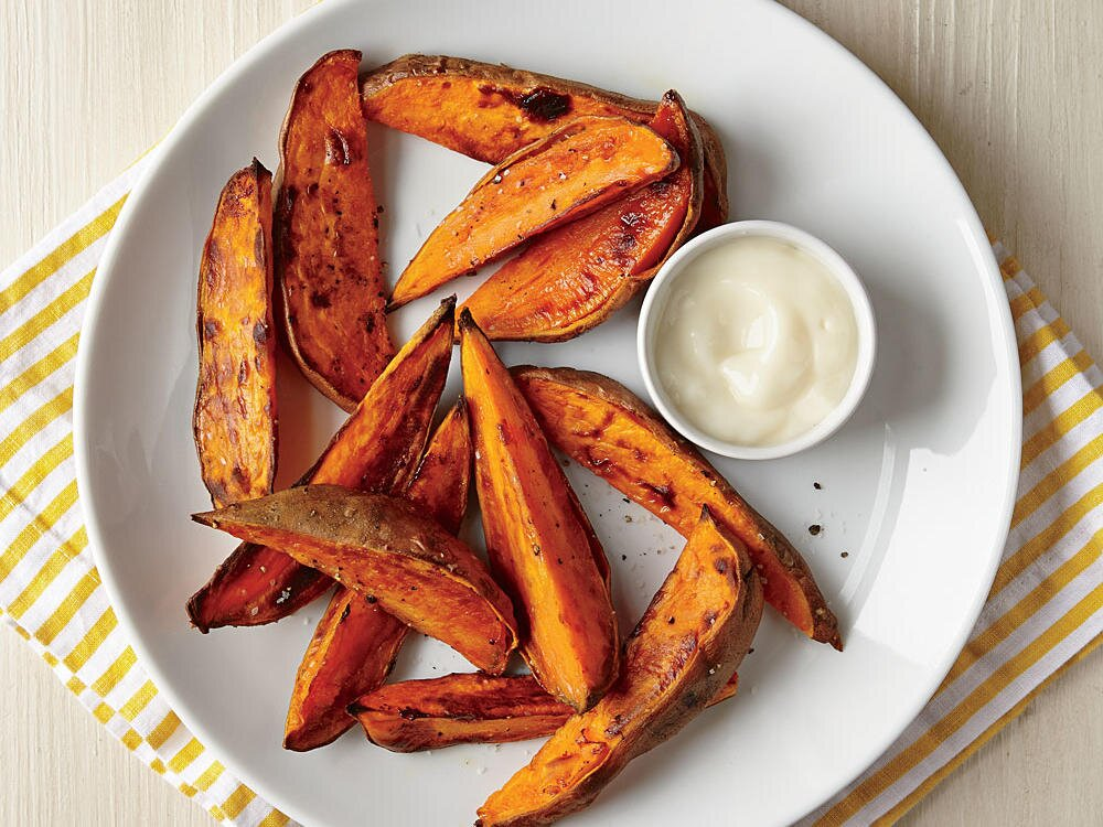 How To Make Roasted Sweet Potato Wedges With Yogurt Dipping Sauce Cooking Light