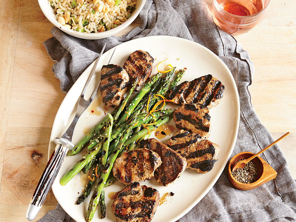 Grilled Pork Tenderloin with Orange-Sesame Asparagus and Rice
